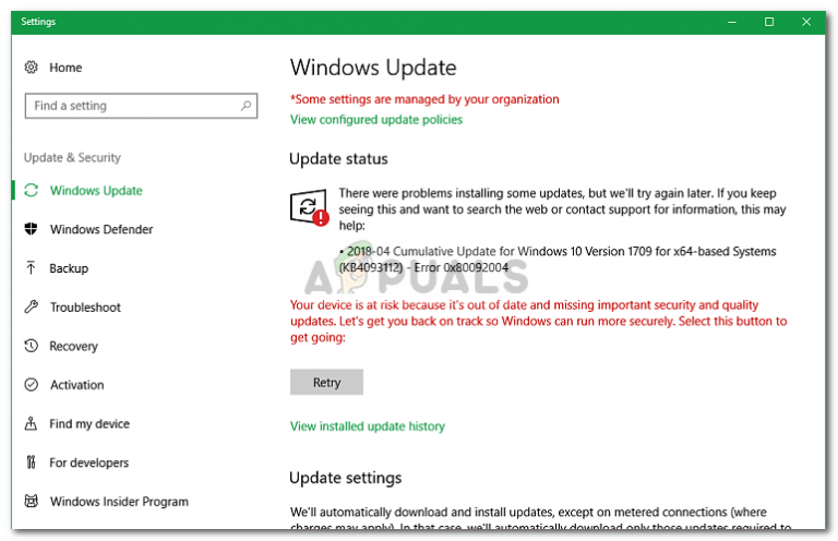 Fix: Windows Update Fehler 0x80092004