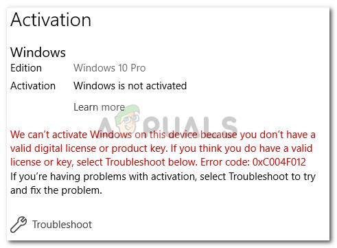 Fix: Windows 10-Aktivierungsfehler 0xc004f012