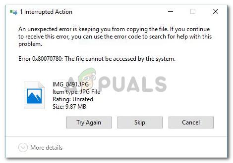 Fix: Auf die Datei kann vom Systemfehler 0x80070780 nicht zugegriffen werden