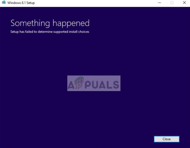 Fix: Setup konnte die unterstützten Installationsoptionen nicht ermitteln