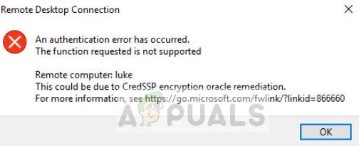 Fix: Ein Authentifizierungsfehler ist aufgetreten (Remotedesktop)