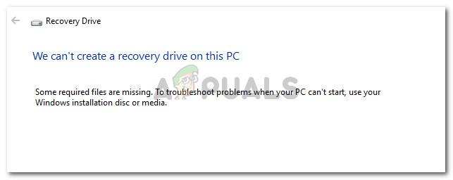 Fix: Auf diesem PC kann kein Wiederherstellungslaufwerk erstellt werden