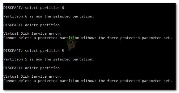 Fix: Eine geschützte Partition kann ohne den Force Protected-Parametersatz nicht gelöscht werden