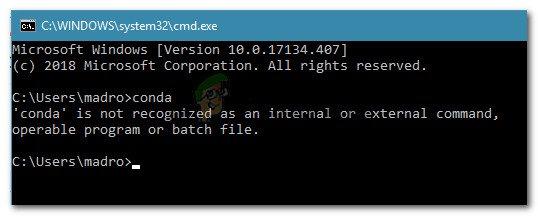 Fix: 'conda' wird nicht als interner oder externer Befehl, bedienbares Programm oder Batch-Datei erkannt