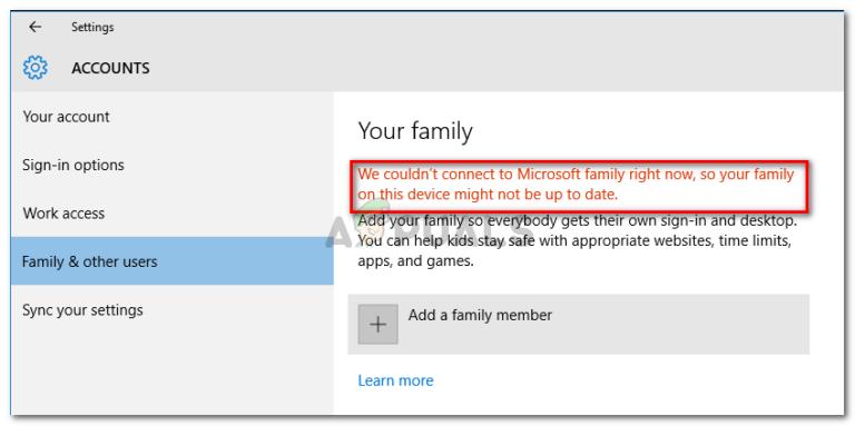 Fix: Wir konnten derzeit keine Verbindung zur Microsoft-Familie herstellen