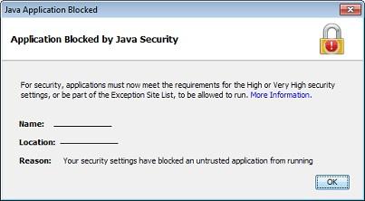Fix: Ihre Sicherheitseinstellungen haben die Ausführung einer selbstsignierten Anwendung blockiert