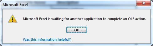 Fix: Microsoft Excel wartet darauf, dass eine andere Anwendung eine OLE-Aktion ausführt