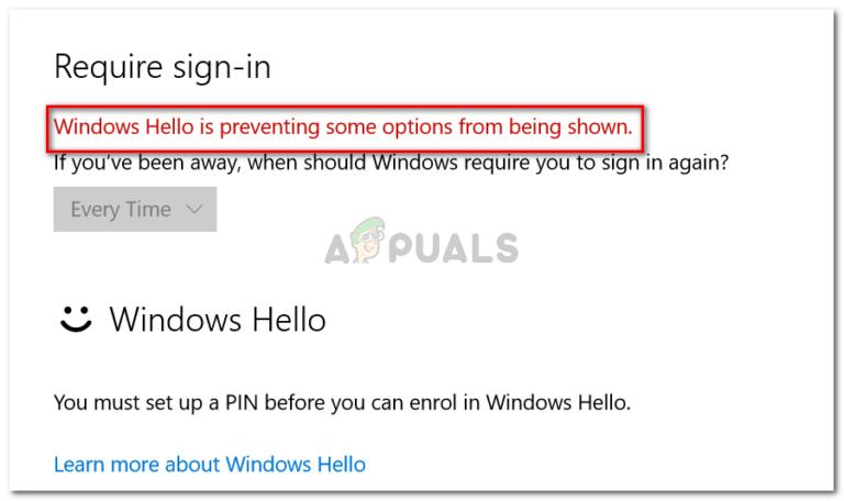 Fix: Windows Hello verhindert, dass einige Optionen angezeigt werden