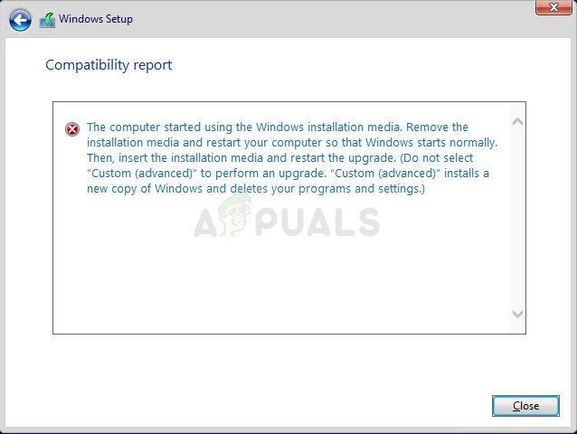 Fix: Der Computer wurde mit dem Windows-Installationsmedium gestartet