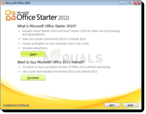 Fix: Microsoft Word Starter 2010 kann nicht geöffnet werden.  Versuchen Sie es erneut oder reparieren Sie das Produkt in der Systemsteuerung