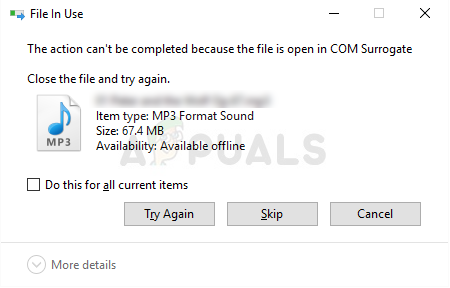 Fix: Datei ist in COM Surrogate geöffnet
