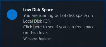 Fix: Benachrichtigung über geringen Speicherplatz unter Windows 10
