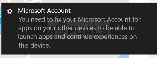 Fix: Sie müssen Ihr Microsoft-Konto für Apps auf Ihren anderen Geräten reparieren, um Apps starten und Erfahrungen auf diesem Gerät fortsetzen zu können
