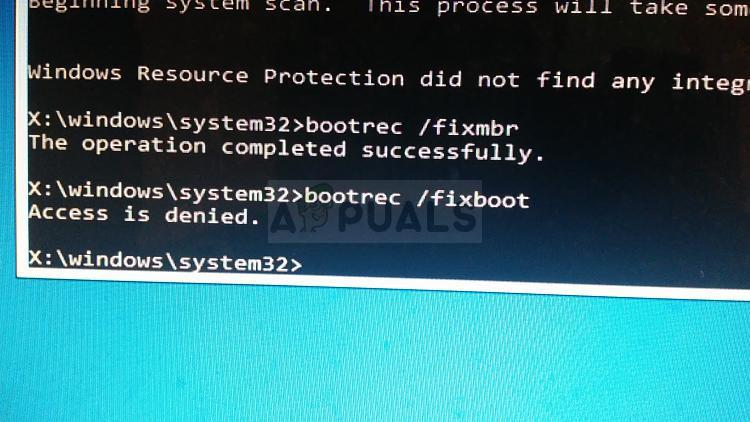 So beheben Sie den 'bootrec / fixboot'-Zugriff unter Windows 7,8 und 10 verweigert
