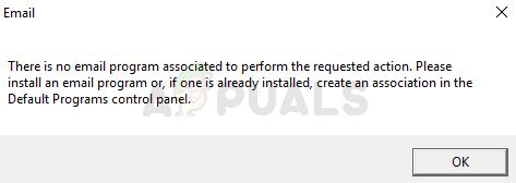 Fix: Es ist kein E-Mail-Programm zugeordnet, um den angeforderten Aktionsfehler auszuführen