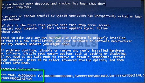 Fix: 0x000000F4 Blue Screen STOP Fehler