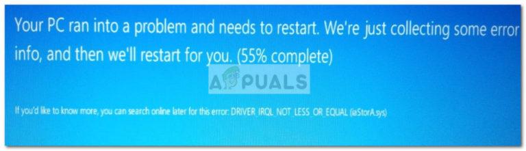 Fix: iaStorA.sys Blue Screen – Appuals.com