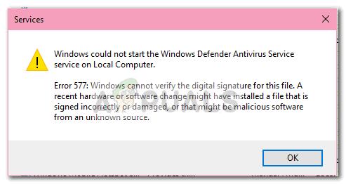 Fix: Windows Defender-Fehler 577