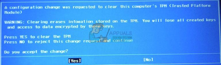Fix: Eine Konfigurationsänderung wurde angefordert, um das TPM dieses Computers zu löschen