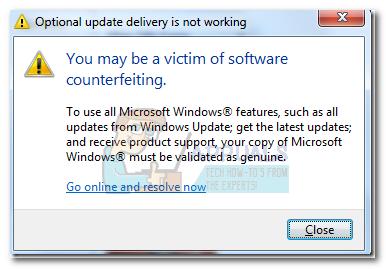 Fix: Möglicherweise sind Sie Opfer von Software-Fälschungen