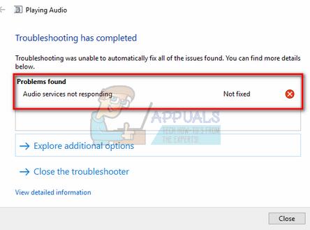 Fix: Audiodienste reagieren nicht auf Windows 10