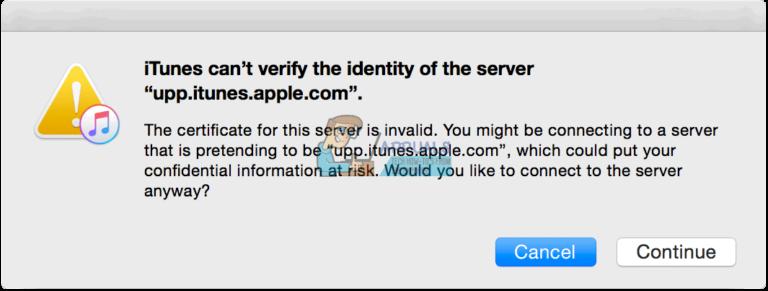 Fix: iTunes kann die Identität des Servers nicht überprüfen