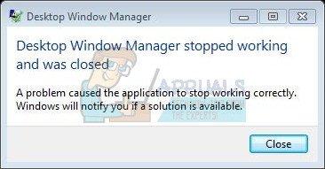 Fix: Desktop Window Manager funktionierte nicht mehr und wurde geschlossen