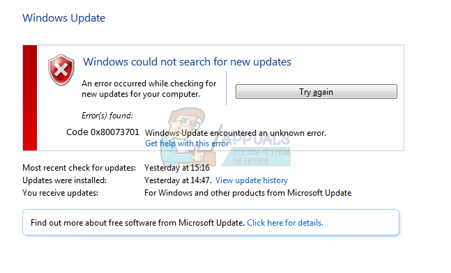 Fix: Windows Update-Fehlercode 0x80073701
