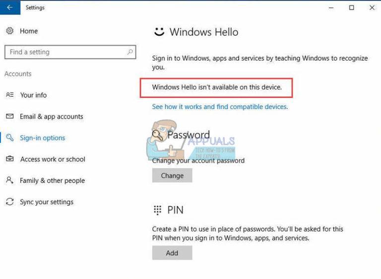 Fix: Windows Hello ist auf diesem Gerät nicht verfügbar