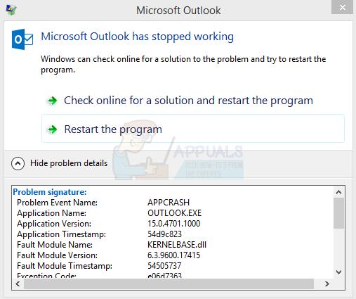 Fix: Microsoft Outlook stürzt ab 'KERNELBASE.DLL'