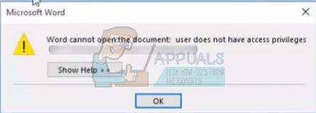 Fix: Word kann das Dokument nicht öffnen: Benutzer hat keine Zugriffsrechte