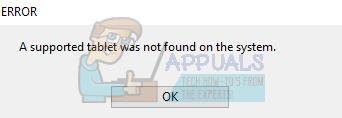 Fix: Ein unterstütztes Tablet wurde auf dem System nicht gefunden