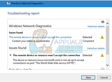 Fix: Das Remote-Gerät oder die Remote-Ressource akzeptiert die Verbindung nicht