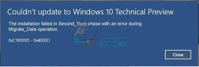 Fix: 0xc1900101 – 0x4000d Fehler während der Installation von Windows 10