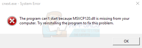 Fix: Cnext.exe kann nicht gestartet werden, da MSVCP120.dll oder Qt5Core.dll fehlen