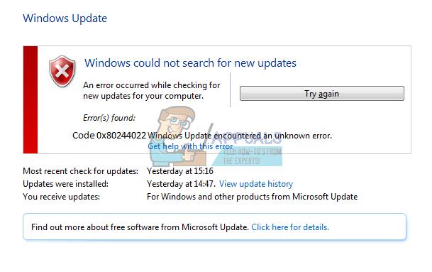 Fix: Windows Update-Fehlercode 0x80244022