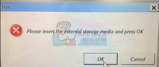 Fix: Bitte legen Sie das externe Speichermedium ein und drücken Sie OK