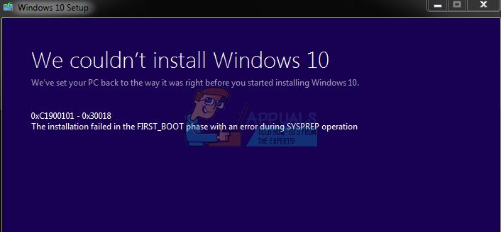 Fix: Windows 10 Update Fehler '0xc1900101-0x30018'