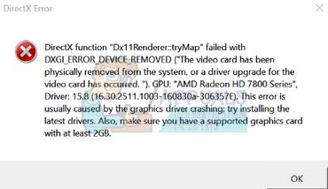 Fix: DXGI_ERROR_DEVICE_REMOVED – Appuals.com