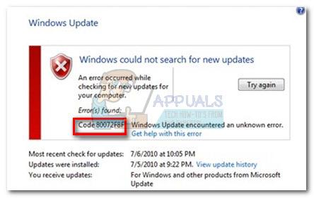 Fix: Windows Update Fehler 80072F8F