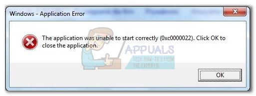 Fix: Anwendungsfehler 0xc0000022 – Appuals.com