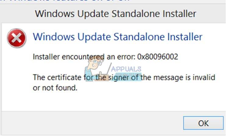 Fix: Windows Update Standalone Installer 0x80096002 Fehler