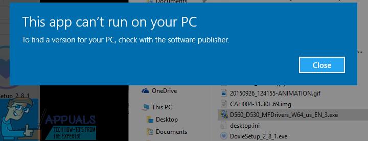 """Fix: Fehlermeldung """"Diese App kann nicht auf Ihrem PC ausgeführt werden"""" unter Windows 10"""