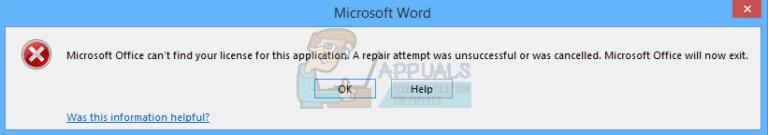 Fix: Microsoft Office kann Ihre Lizenz für diese Anwendung nicht finden