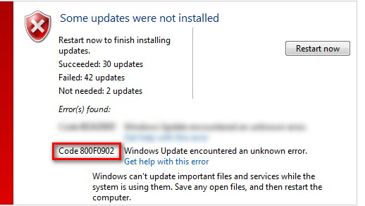 Fix: Windows Update Fehler 800f0902