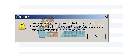 Fix: iTunes kann den Inhalt des iPhone nicht lesen
