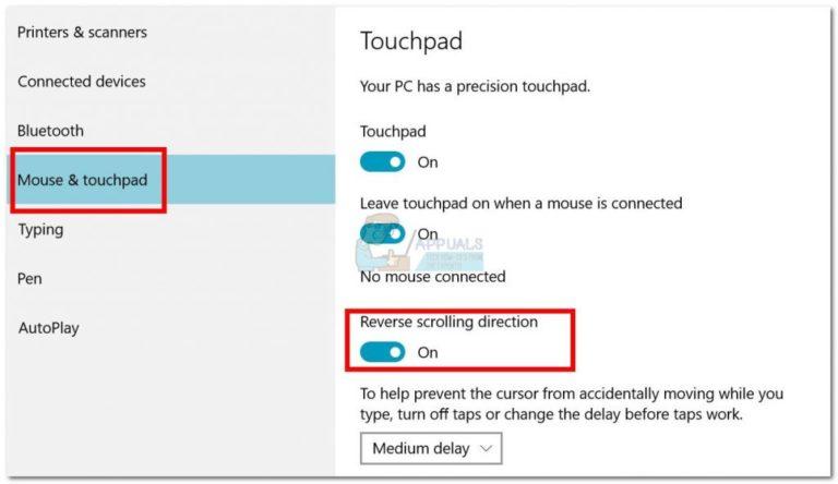 So kehren Sie die Bildlaufrichtung in Windows 10 um