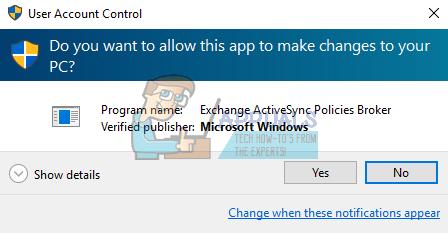 "Fix: Deaktivieren Sie den Dialog ""Exchange Activesync Policies Broker"" unter Windows"