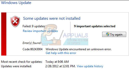Fix: Windows Update Fehler 80243004