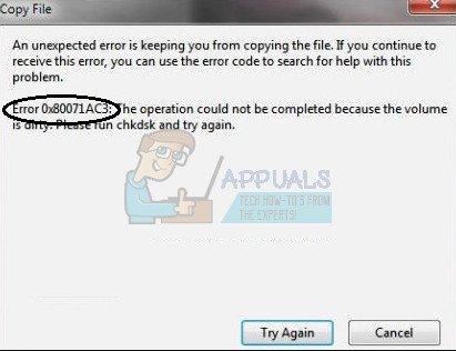 So beheben Sie den Fehler 0X80071AC3 'Die Lautstärke ist verschmutzt'